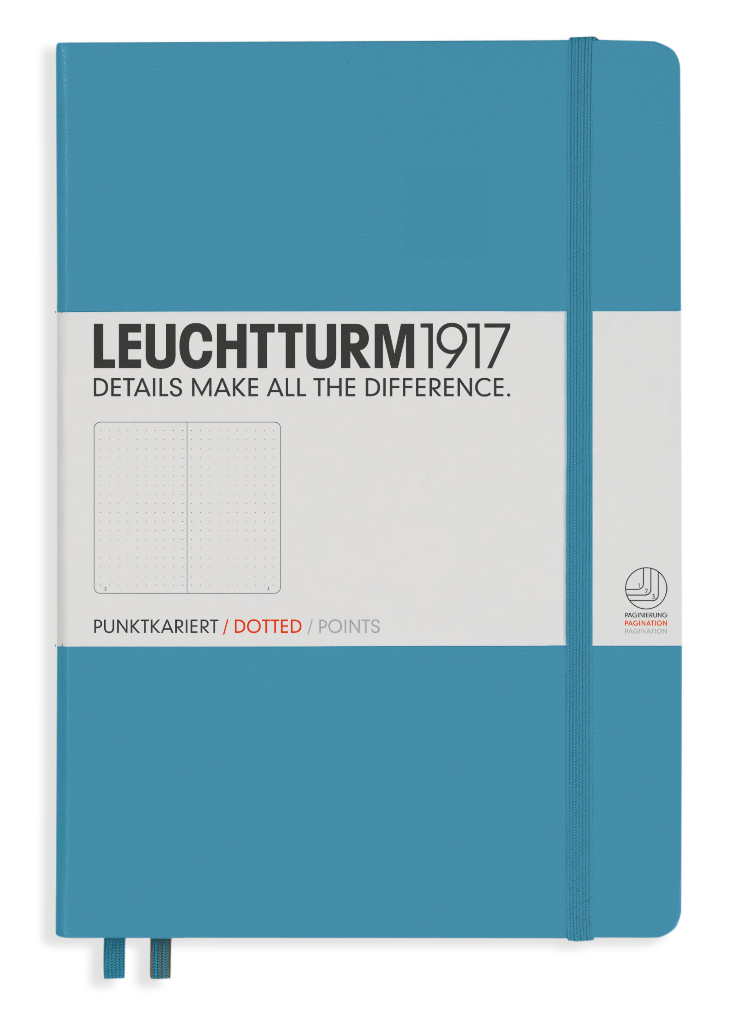 Leuchtturm 1917 A5 Dot Grid Journal Notebook - Hard Cover for Bullet Journal - Nordic Blue