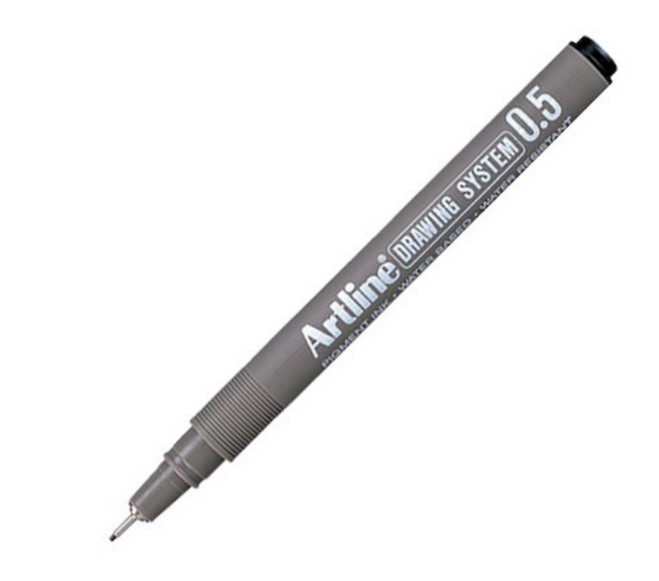 Artline Drawing System Pens - Black Ink - Pack of 4 - 0.4mm, 0.5mm, 0.6mm, 0.7mm
