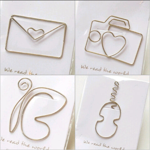 Metal Bookmark Paper Clip - Envelope, Butterfly, Camera, Guitar