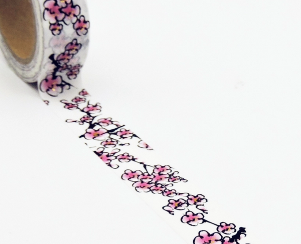 Pink Cherry Blossom Flower Washi Tape, Masking Tape for Bullet Journals, Planners, DIY, Crafts, Scrapbooking