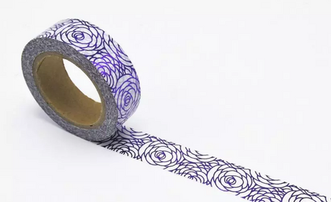 Purple Peonies Flowers Washi Tape Masking Tape for Journals, Planners, DIY, Crafts, Scrapbooking