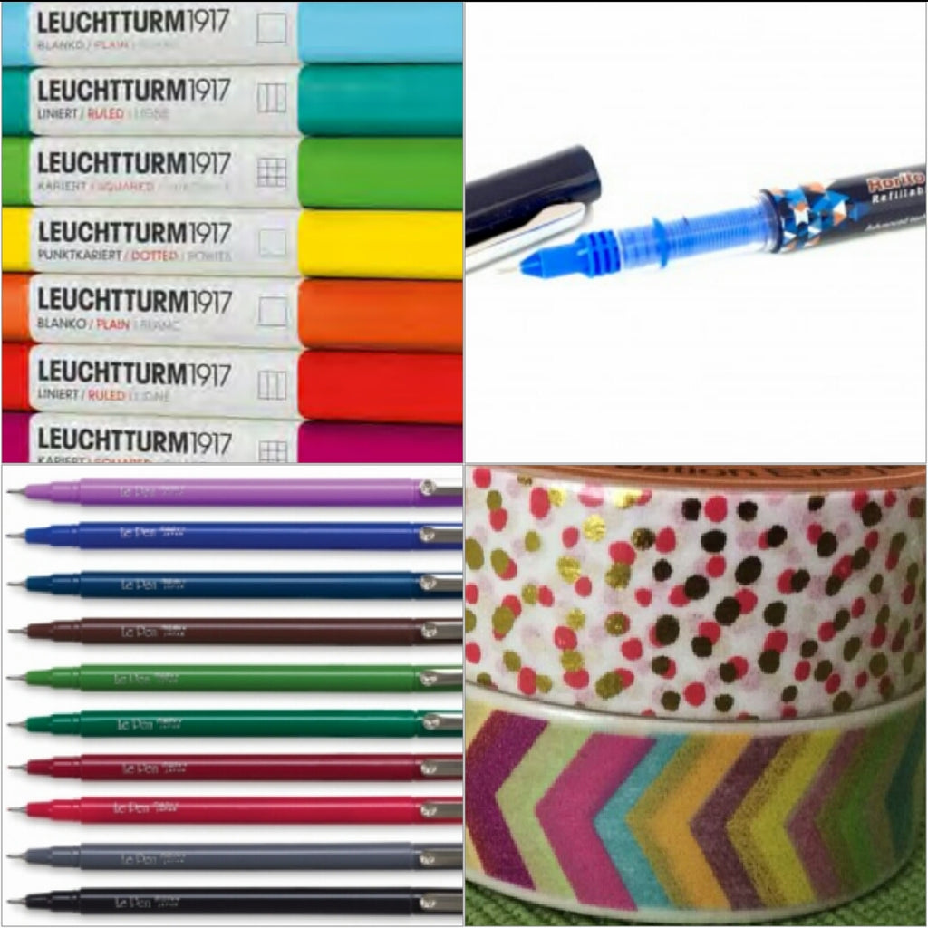Basic Bundle - Supplies for Bullet Journal - Leuchtturm1917 A5 Dot Grid Notebook, LePen or Rorito Pen, Washi Tape