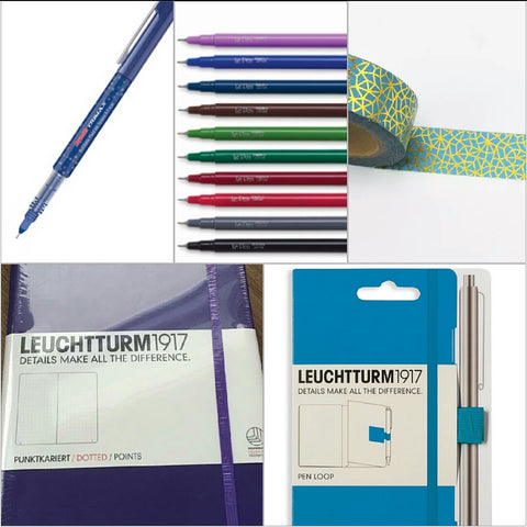 Starter Bundle - Leuchtturm1917 A5 Dot Grid Notebook, Pen Loop, LePen or Rorito Pen, Washi Tape