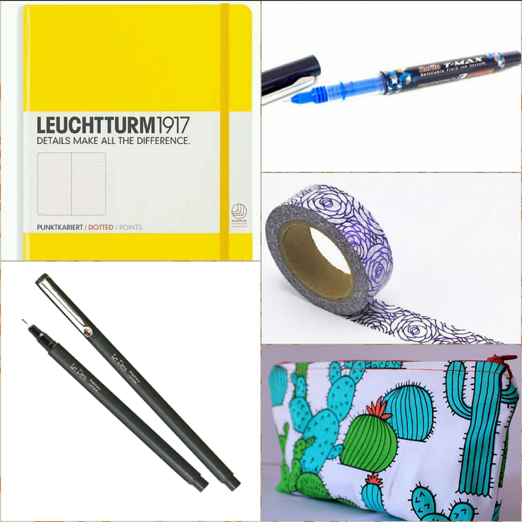Fun Bundle - Leuchtturm1917 A5 Dot Grid Notebook, Pencil Case, LePen or Rorito Pen, Washi Tape
