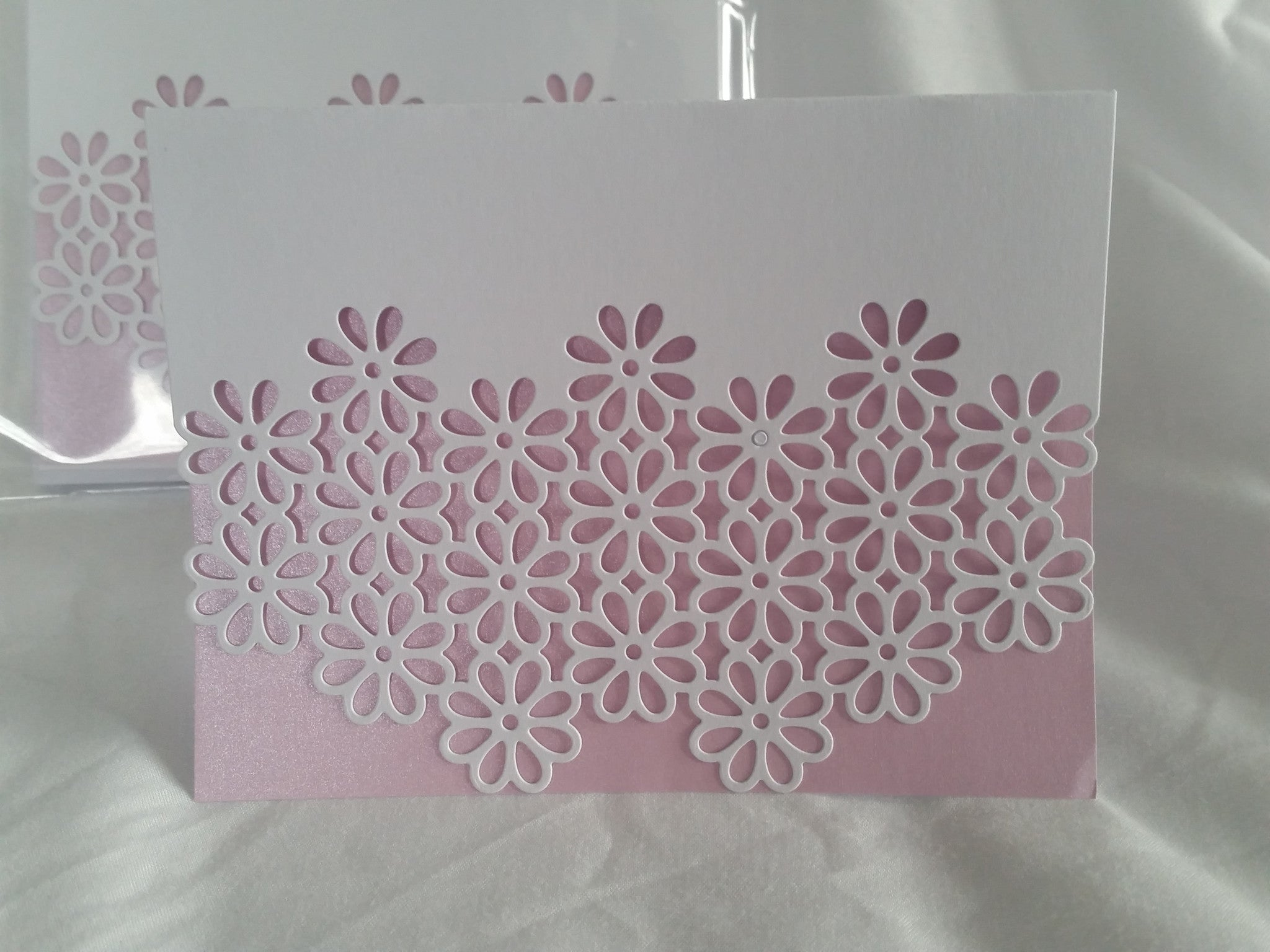 Die Cut Greeting Cards - 8 Cards Rose/Pink