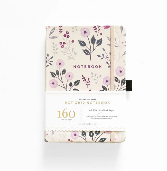 Archer & Olive A5 Painted Flowers Dot Grid Notebook