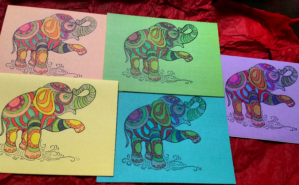 Elephant Greeting Cards - 5 Cards