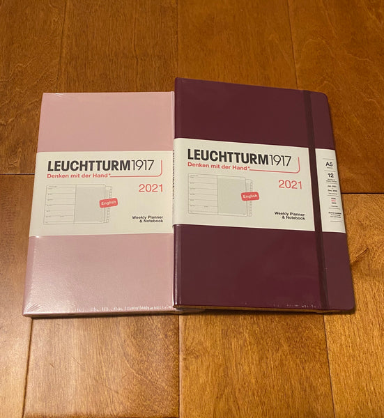 2021 Leuchtturm1917 Weekly Planner & Notebook Medium (A5) + Extra Booklet - Navy, Black, Port Red, Powder, Anthracite