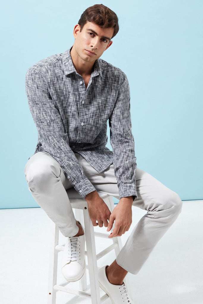 Slim-Fit Cotton-Linen Space Dyed Pattern Shirt