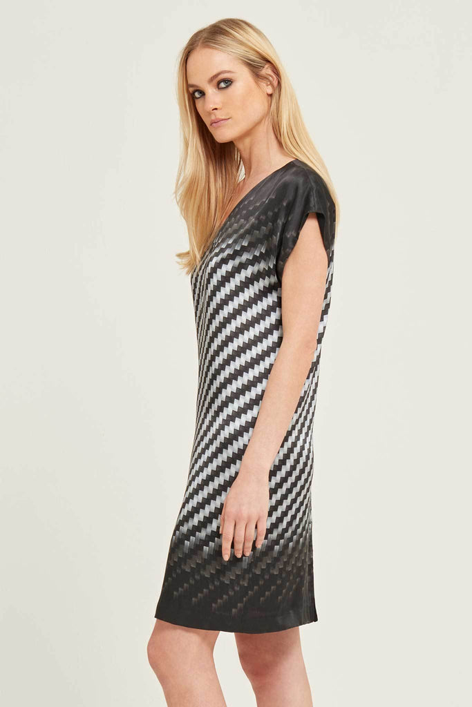 Printed Silk-Satin Midi Dress