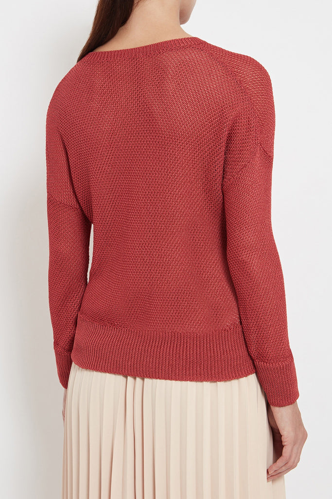womens luxury italian yarn mesh knit sweater red see through