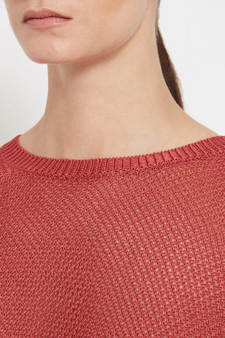 womens luxury italian yarn mesh knit sweater red round neck long sleeve