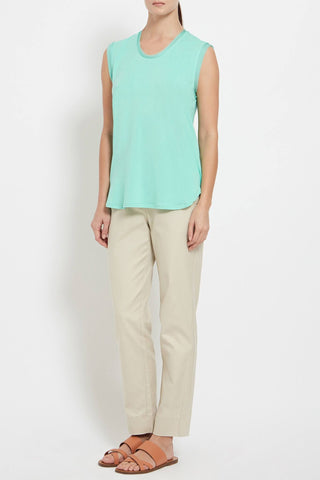INES T-SHIRT: Cotton-Blend Silk Trimmed T-Shirt