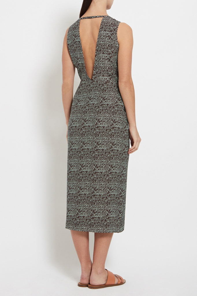 Talia Dress: Printed Crepe Midi Dress