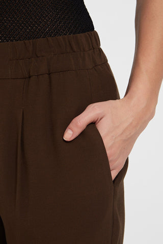 TERI TROUSER: Crepe De Chine Tapered Pants