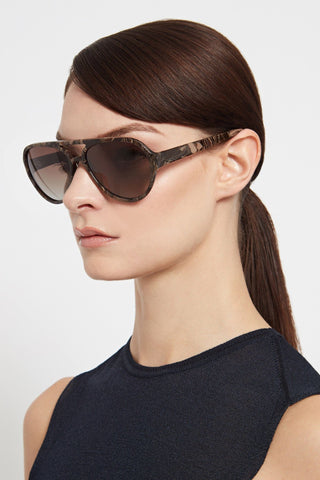 DRIVE 3: Aviator-Style Chocolate Marble Effect Acetate Sunglasses