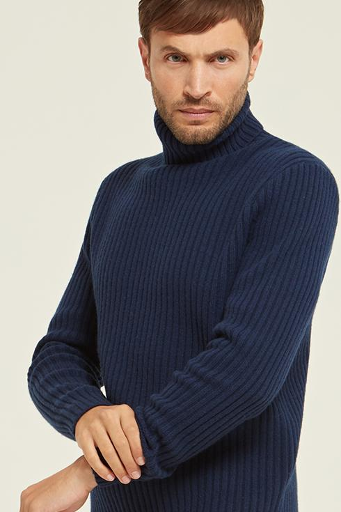 Ribbed Merino Wool Roll Neck Sweater