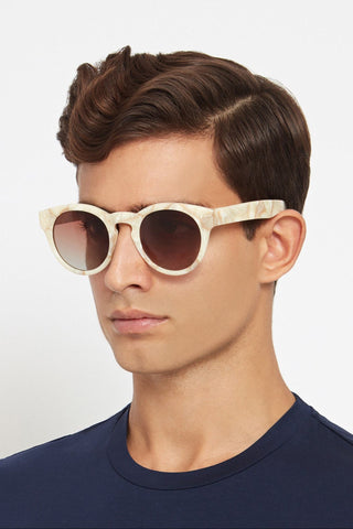 Spectator 3: Round-Frame Marble-Effect Acetate Sunglasses