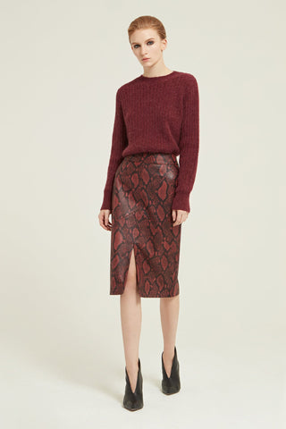 Snake Effect Leather Printed Skirt