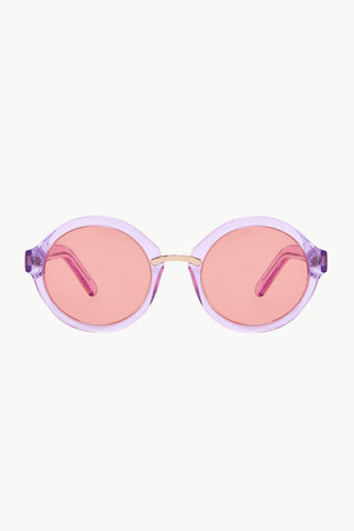 Charade 2: Round-Frame Lilac Acetate and Rose Gold-Tone Sunglasses