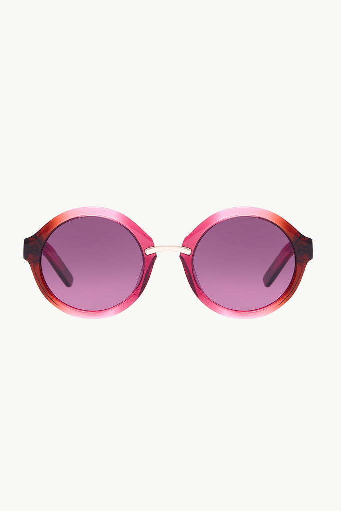 CHARADE 3: Round-Frame Mulberry Acetate and Gold-Tone Sunglasses
