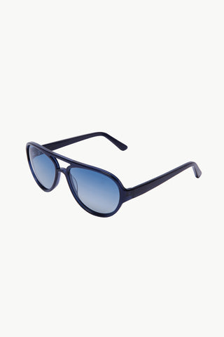 Drive 2: Aviator-Style Navy Transparent Effect Acetate Sunglasses
