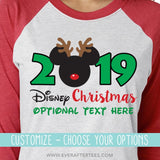 CUSTOMIZE Color & Styles - Disney 2019, 2020, 2021 Christmas Reindeer T-Shirts . Matching Disney Family Vacation Christmas Party T-Shirts . Mickey Reindeer Ears . MVMCP shirts . Christmas in Disney .