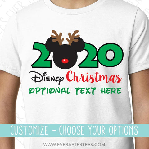 Disney Christmas 2021 Customize Matching Reindeer Ears 2019 2020 2021 Disney Family Vacation Christmas T Shirts Ever After Tees