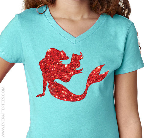 Girls Princess Ariel Glitter T-Shirt