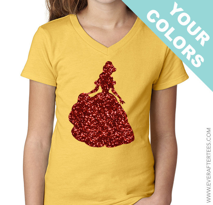 Girls Princess Belle Glitter T-Shirt