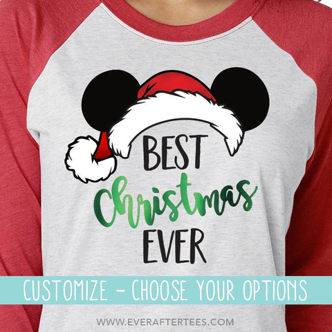 Raglan Best Christmas Ever Mickey Mouse Ears T-shirts . Matching Christmas Disney Family Vacation Raglan T-shirts