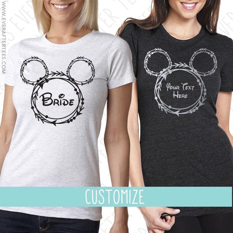 Bride Tribe . Disney Bride Shirt . Disney Bachelorette Party T-Shirts . Mouse Ears Bride .