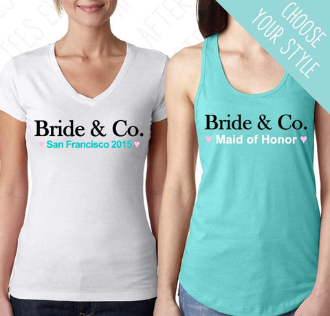 Bride and Co. bachelorette party t-shirts . Bride & Co. wedding party tanks.
