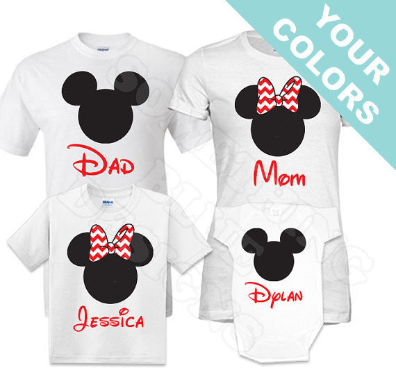 Chevron Bow Family Vacation Tees . Ears with Chevron Bows . Family Vacation