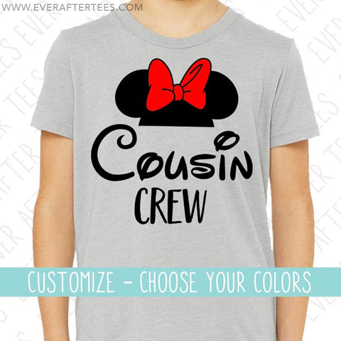 Cousin Crew Mouse Ear Tshirts | Minnie Mouse Bow | Matching Shirts for the Whole Family | Disney Family Vacation | Disney is Better With Your Cousins