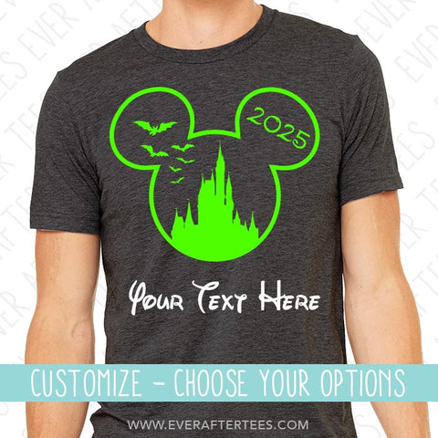 Halloween Castle w/ Bats Mouse Ears Outline . MNSSHP Shirts . Matching Disney Family Vacation T-shirts . Shirts for the Whole Family.
