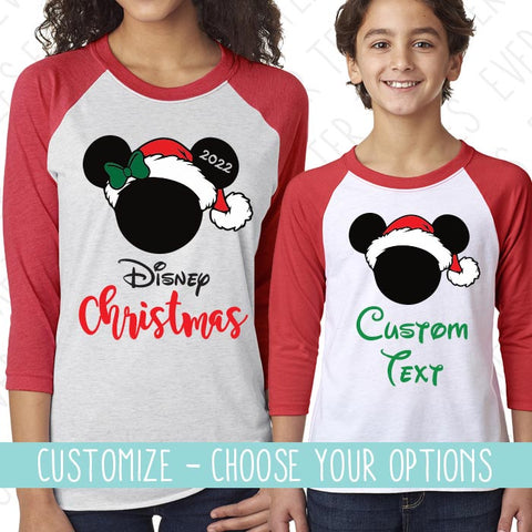 Raglan Mickey & Minnie Mouse Ears T-shirts . Matching Christmas Disney Family Vacation Raglan T-shirts
