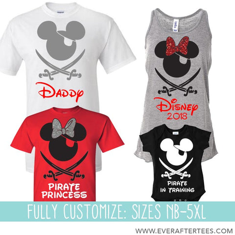 CUSTOMIZE Matching Family Pirate Mickey Mouse Ears T-shirts