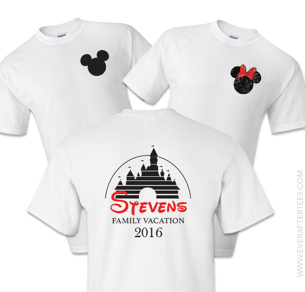 Disney Family Vacation Chest Logo Tees . Matching Disney Family Vacation T-shirts . Family Castle T-shirts .