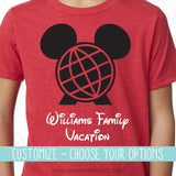 Customize - Epcot Minnie or Mickey Mouse Ears Shirt . Choose Your T-shirt & Colors