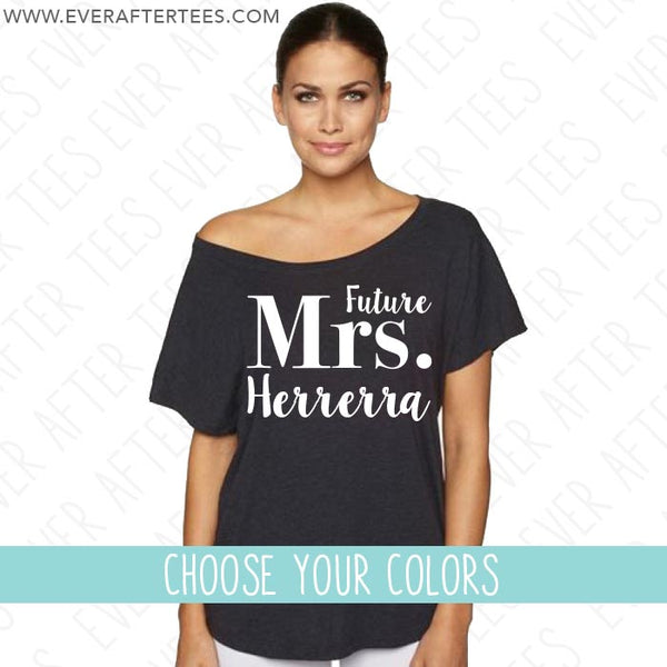 Future Mrs Slouchy Off The Shoulder Bridal T-shirt . Slouchy Future Mrs Wedding Tee . Bridal Shirt . Bridal T-shirt . Off The Shoulder Bridal Shirt . Bride Shirt