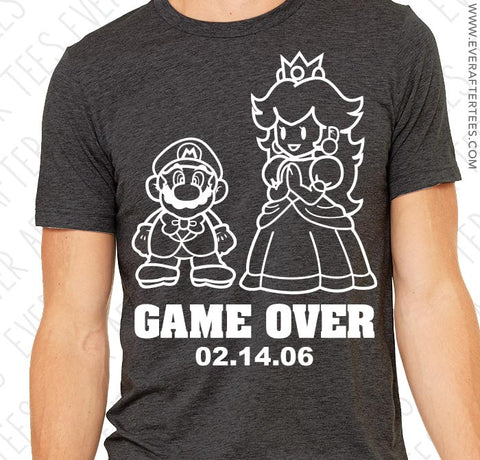 Game Over Mario Shirt . Game Over Wedding T-Shirt . Mario and Princess Peach