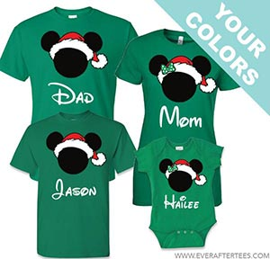Disney Family Santa Mickey T-shirts . Disney Family Vacation Christmas Shirts . Christmas in Disney Tees.