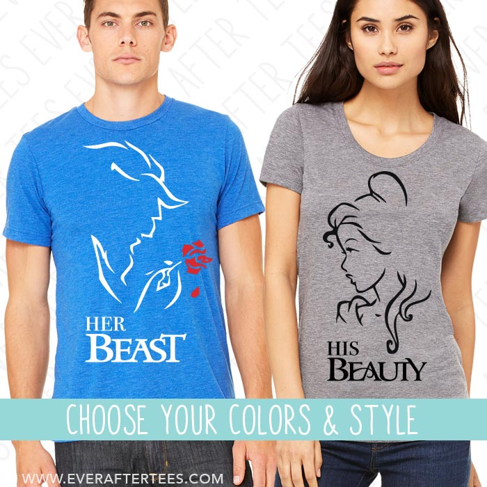 9bd5225166 His Beauty Her Beast Matching T-shirts. Couples Matching Shirts for Di –  Ever After Tees