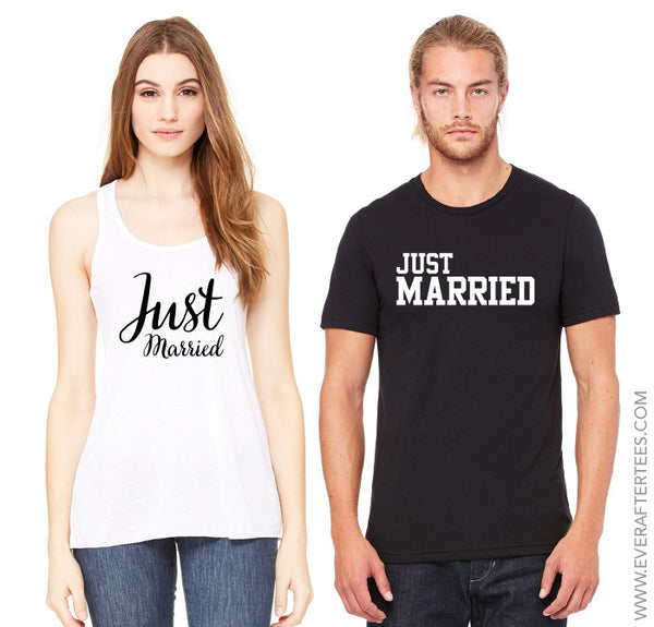 Just Married Shirts . Couples Shirts . His and Hers Shirts . Honeymoon Shirts