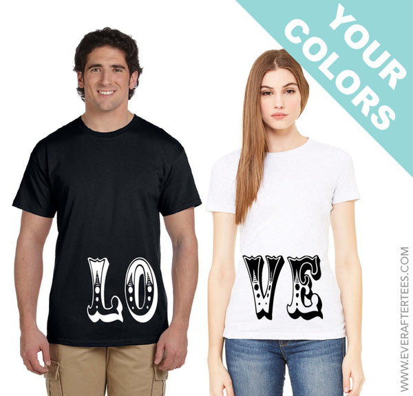His and Her L.O.V.E. Shirts . LOVE Shirts . His and Hers Shirts .