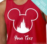CUSTOMIZE - Mouse Outline w/ Castle - Matching Disney Family T-Shirts .