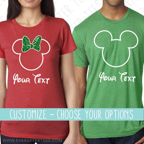 CUSTOMIZE Color & Styles - Disney Christmas Shirts . Matching Disney Family Vacation Christmas Party T-Shirts . Mickey Ears . MVMCP shirts . Christmas in Disney .