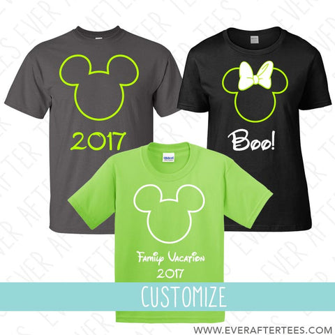 Halloween Mouse Ears Outline . MNSSHP Shirts . Matching Disney Family Vacation T-shirts .