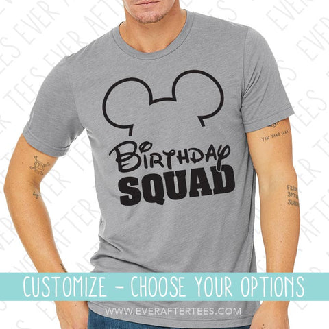Mouse Ears Birthday Squad T-shirt | Show off to Mickey with Matching Birthday in Disney Shirts | Group Birthday Disney Squad Tank Top | Customize